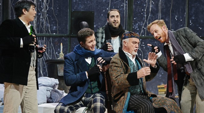 La Bohème am Luzerner Theater (v.l.n.r. Carlo Jung-Heyk Cho, Szymon Chojnacki, Flurin Caduff, Armin Caduff, Todd Boyce) Foto: Toni Suter / T+T Fotografie